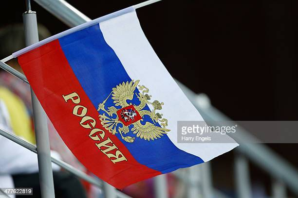 Russian flag is waved in the crowd during the Wheelchair Curling Round Robin Session 6 matches on day three of the 2014 Paralympic Winter Games at...