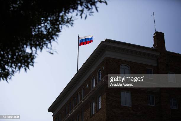 Russian flag waves on top of Consulate General Of The Russian Federation building as the consulate readies itself for closure in San Francisco United...
