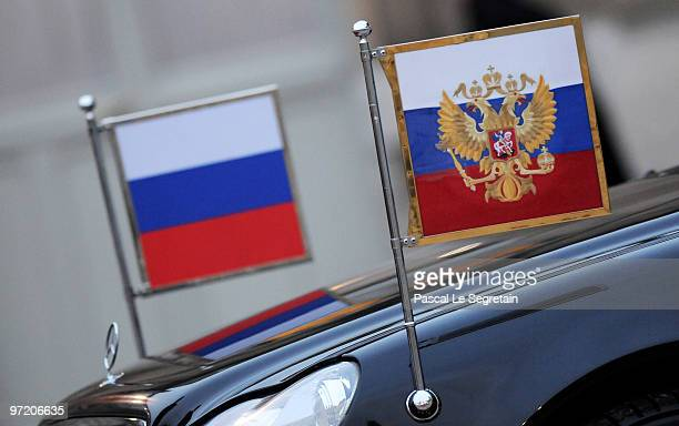 Russian flags on the official car of visiting President Dmitry Medvedev in the courtyard of the Elysee Palace on March 1 2010 in Paris France...