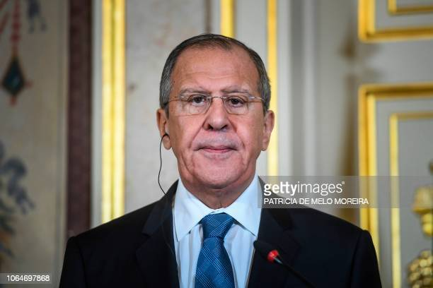 Russian Foreign Affairs minister Sergei Lavrov give a joint press conference with his Portuguese counterpart at Necessidades Palace in Lisbon on...