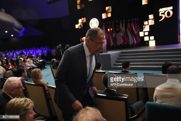Russian Foreign Affairs Minister Sergey Lavrov arrives for the closing ceremony of the 50th Association of Southeast Asian Nations regional security...
