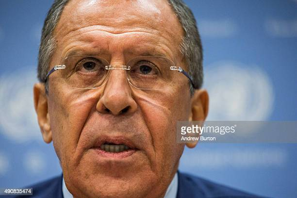 Russian Foreign Affairs Minister Sergey Lavrov speaks at a press conference at the United Nations on October 1, 2015 in New York City. Russia started...