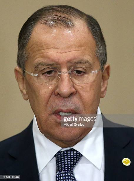 Russian Foreign Minister Sergei Lavrov addresses the media during the official reception ceremony on December 15 2016 in Nagato Japan The Russian...
