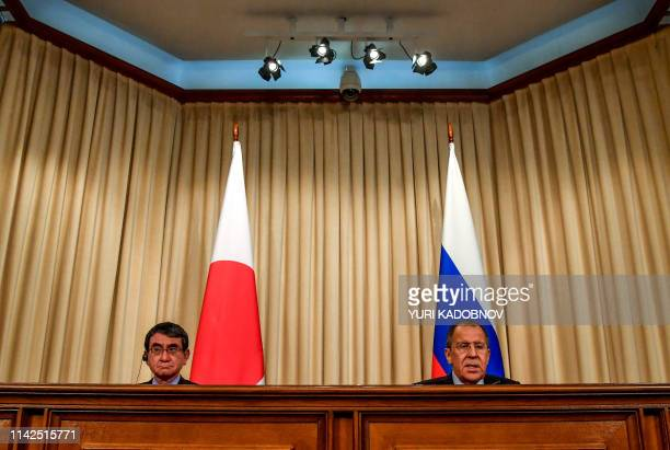 Russian Foreign Minister Sergei Lavrov and his Japanese counterpart Taro Kono attend a news conference after their meeting in Moscow on May 10 2019