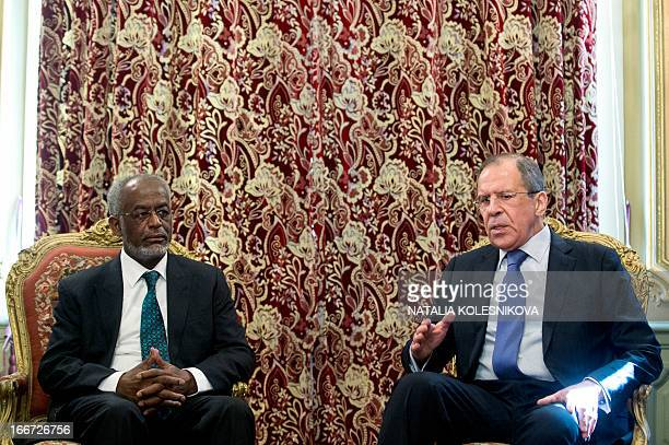 Russian Foreign Minister Sergei Lavrov and his Sudanese counterpart Ali Ahmed Karti speak as they meet in Moscow on April 16 2013 AFP PHOTO / NATALIA...