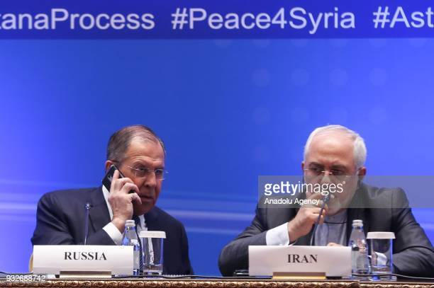 Russian Foreign Minister Sergei Lavrov and Iranian Foreign Minister Mohammad Javad Zarif are seen during joint press conference after the ninth round...