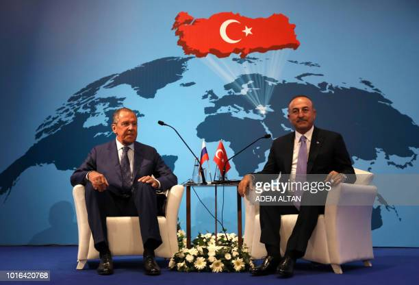 Russian Foreign Minister Sergei Lavrov and Turkish Foreign Affairs minister Mevlut Cavusoglu take part in the 10th Ambassadors' conference in Ankara...
