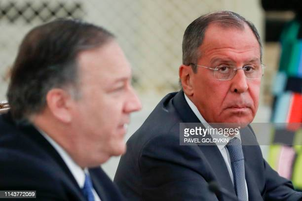 TOPSHOT Russian Foreign Minister Sergei Lavrov and US Secretary of State Mike Pompeo hold a joint press conference following their talks in Sochi on...