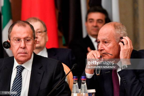 Russian Foreign Minister Sergei Lavrov Arab League SecretaryGeneral Ahmed Abul Gheit and foreign ministers and representatives of foreign ministries...