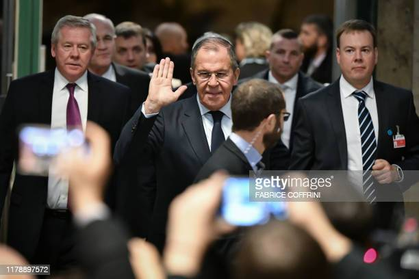 Russian Foreign Minister Sergei Lavrov arrives ahead of a meeting of the Syria constitution-writing committee on October 29, 2019 at the United...