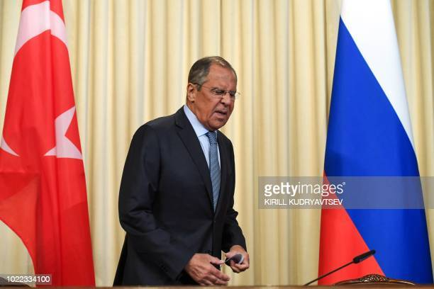 Russian Foreign Minister Sergei Lavrov arrives for a joint press conference with his Turkish counterpart after their meeting in Moscow on August 24,...