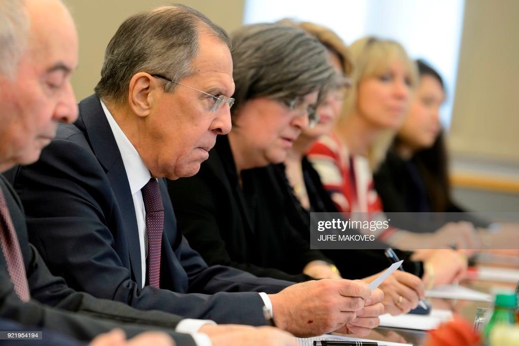 Russian Foreign Minister Sergei Lavrov attends a meeting in Ljubljana with Slovenian Foreign Minister on February 21, 2018. / AFP PHOTO / Jure Makovec