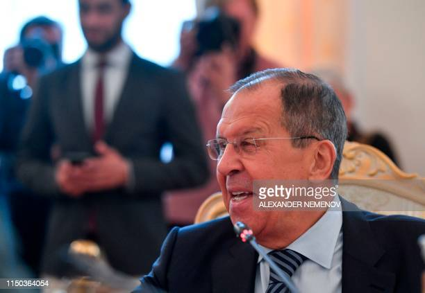 Russian Foreign Minister Sergei Lavrov attends a meeting with his South Korean counterpart in Moscow on June 17 2019