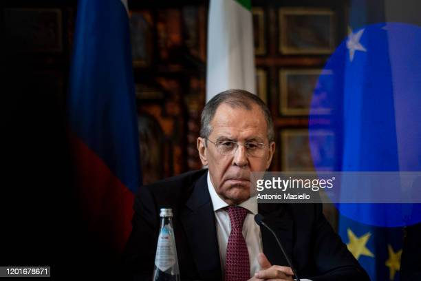 Russian Foreign Minister Sergei Lavrov attends a press conference following a two-plus-two dialogue between the Defence and foreign ministers of...