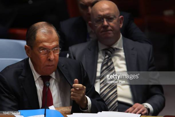 Russian Foreign Minister Sergei Lavrov attends a United Nations Security Council meeting that is being chaired by President Donald Trump on September...