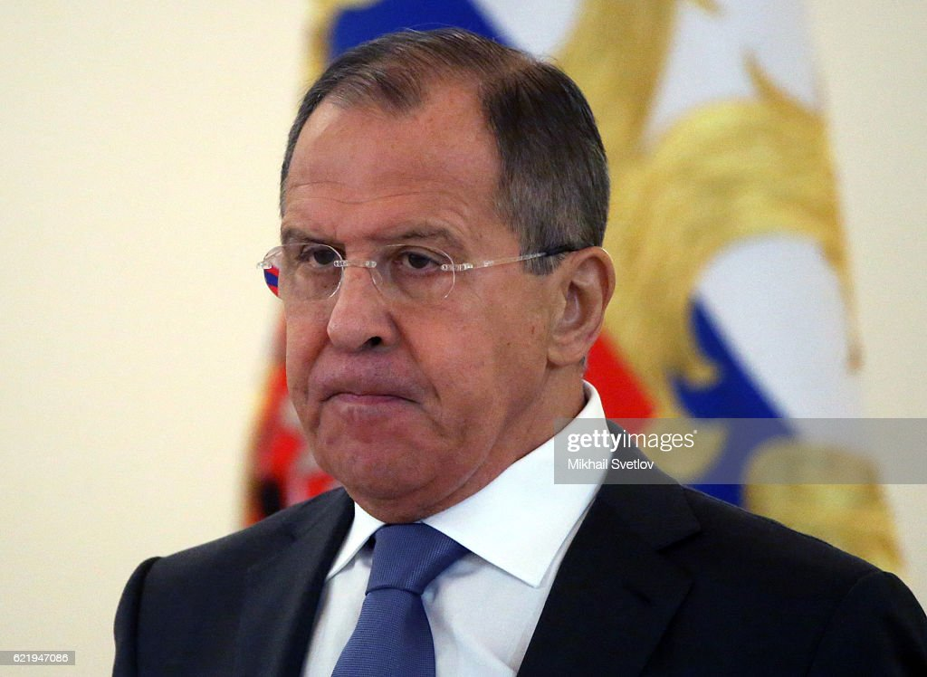 Russian Foreign Minister Sergei Lavrov attends the reception for new foreign ambassadors at Grand Kremlin Palace on November 9, 2016 in Moscow, Russia. Putin has received credentials from 19 new foreign ambassadors and congratulated the winner of U.S. Presdential elections Donald Trump today.