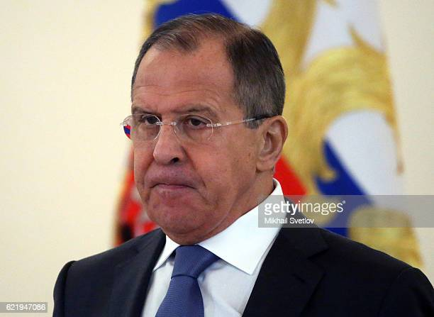 Russian Foreign Minister Sergei Lavrov attends the reception for new foreign ambassadors at Grand Kremlin Palace on November 9 2016 in Moscow Russia...