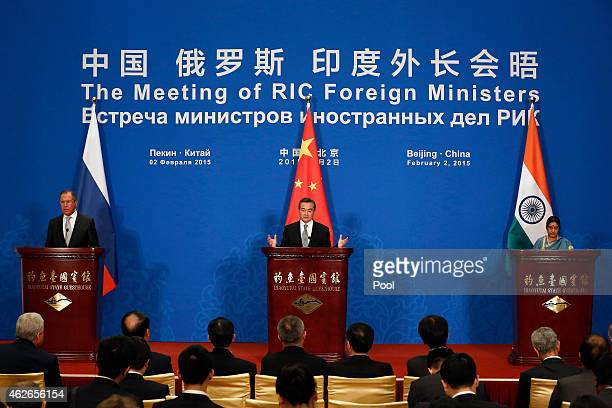 Russian Foreign Minister Sergei Lavrov Chinese Foreign Minister Wang Yi and Indian Foreign Minister Sushma Swaraj attend the press conference after...