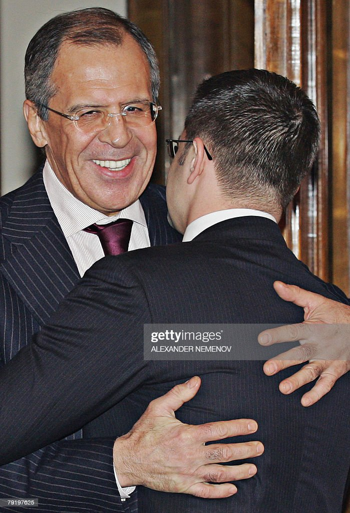 Russian Foreign Minister Sergei Lavrov (L) embraces his Serbian counterpart Serbian Vuk Jeremic during their meeting in Moscow, 24 January 2008. Russian gas monopoly Gazprom scored two major successes this month in a bid to secure its position as Europe's dominant gas supplier, with pipeline deals in Bulgaria and Serbia. Details of the agreement with Serbia are due to be announced 25 January when Serbian President Boris Tadic and Prime Minister Vojislav Kostunica will travel to Moscow for talks with Russian President Vladimir Putin.