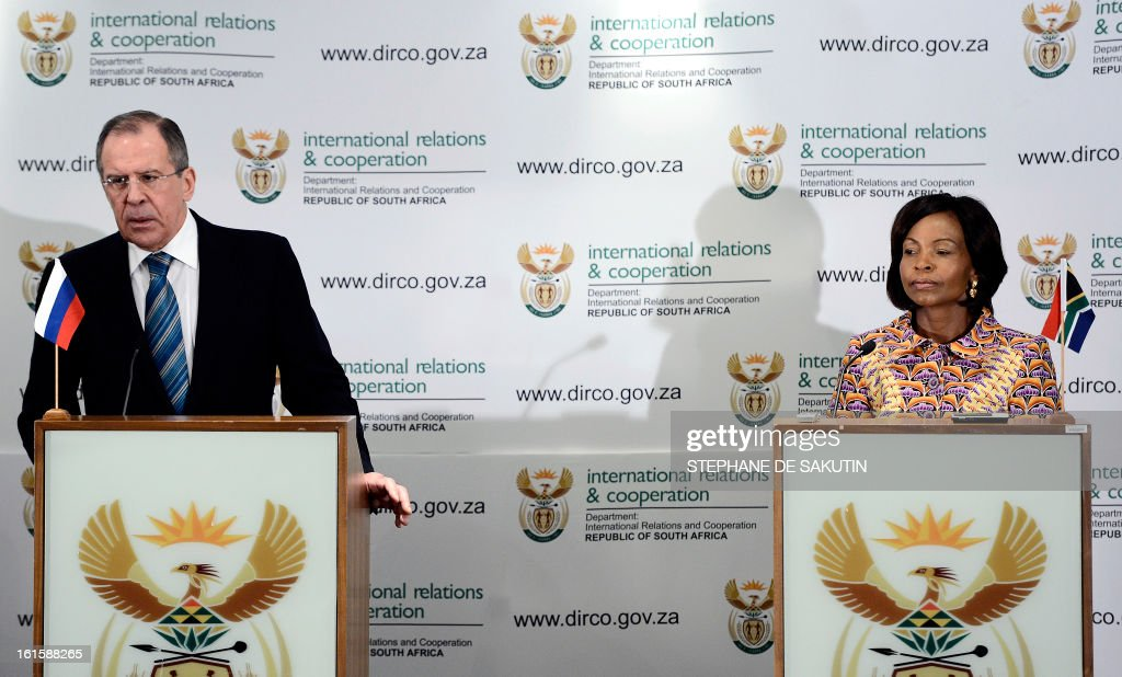 Russian Foreign Minister Sergei Lavrov (L) flanked by South African Minister of International Relations and Cooperation Maite Nkoana-Mashabane give a joint press conference on February 12, 2013 in Pretoria. Lavrov said he expected the UN Security Council to agree on 'an adequate response' to North Korea's controversial nuclear test. World powers have voiced a chorus of condemnation after the reclusive communist state carried out a third nuclear test in defiance of stark international warnings.