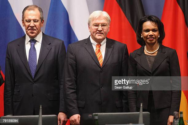 Russian Foreign Minister Sergei Lavrov German Foreign Minister FrankWalter Steinmeier and US Secretary of State Condoleezza Rice arrive to speak to...
