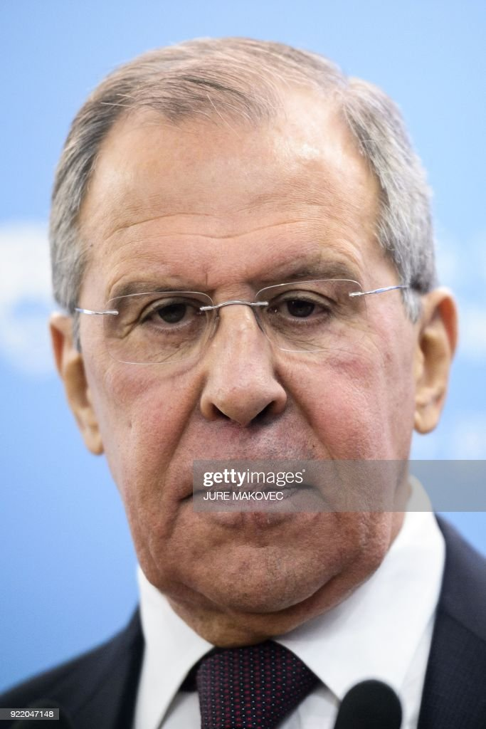 Russian Foreign Minister Sergei Lavrov gives a joint press conference with Slovenian Foreign Minister, after their meeting in Ljubljana, on February 21, 2018. / AFP PHOTO / Jure MAKOVEC