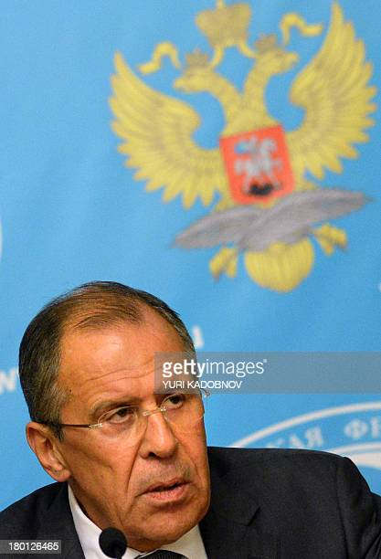 Russian Foreign Minister Sergei Lavrov holds a press conference in Moscow on September 9 2013 Lavrov called on the Syrian regime to hand over control...