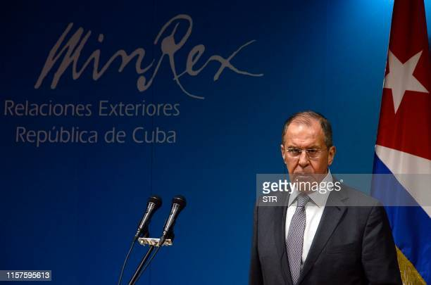 Russian Foreign Minister Sergei Lavrov is pictured during a joint press conference with his Cuban counterpart Bruno Rodriguez after a meeting at the...