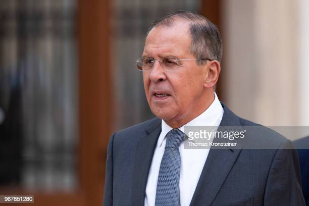 Russian Foreign Minister Sergei Lavrov is seen ahead of Russian President Vladimir Putin arrival at Hofburg palace on June 5, 2018 in Vienna,...