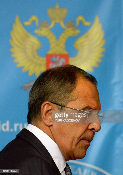 Russian Foreign Minister Sergei Lavrov leaves following a press conference in Moscow on September 9 2013 Lavrov called on the Syrian regime to hand...