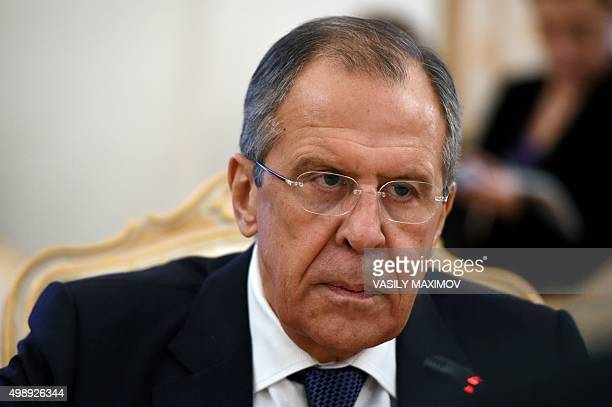 Russian Foreign Minister Sergei Lavrov looks on during a meeting with his Syrian counterpart Walid Muallem in Moscow on November 27 2015 AFP PHOTO /...