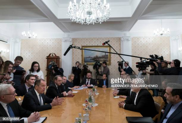 Russian Foreign Minister Sergei Lavrov meets with his Iran's counterpart Mohammad Javad Zarif in Moscow on January 10 2018 / AFP PHOTO / POOL /...