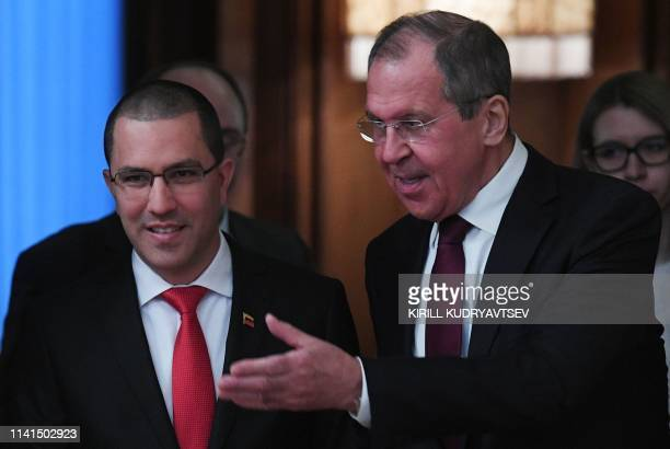 Russian Foreign Minister Sergei Lavrov meets with Venezuela's Foreign Minister Jorge Arreaza in Moscow on May 5 2019