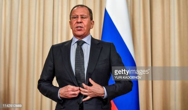 Russian Foreign Minister Sergei Lavrov speaks after his joint news conference with Japanese Foreign Minister in Moscow on May 10, 2019.