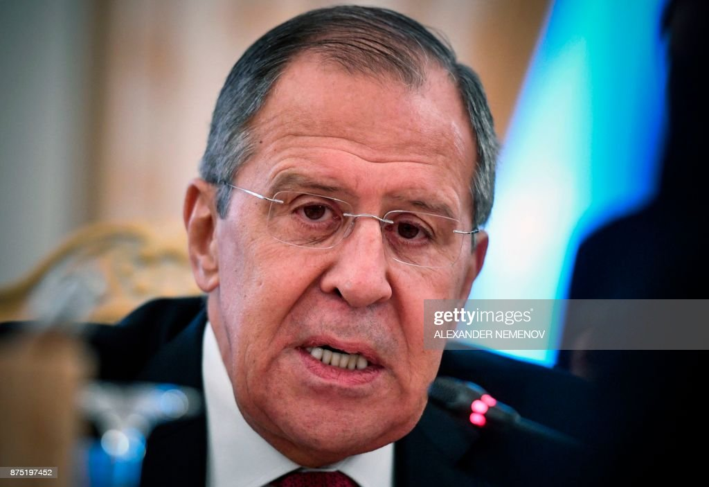 Russian Foreign Minister Sergei Lavrov speaks during a meeting with his Mexico's counterpart in Moscow on November 17, 2017. / AFP PHOTO / Alexander NEMENOV