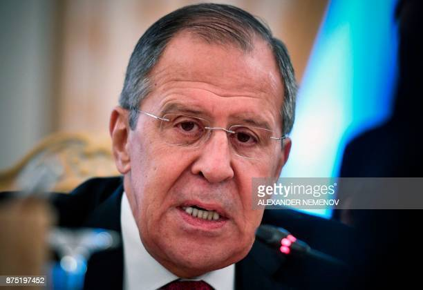 Russian Foreign Minister Sergei Lavrov speaks during a meeting with his Mexico's counterpart in Moscow on November 17, 2017. / AFP PHOTO / Alexander...