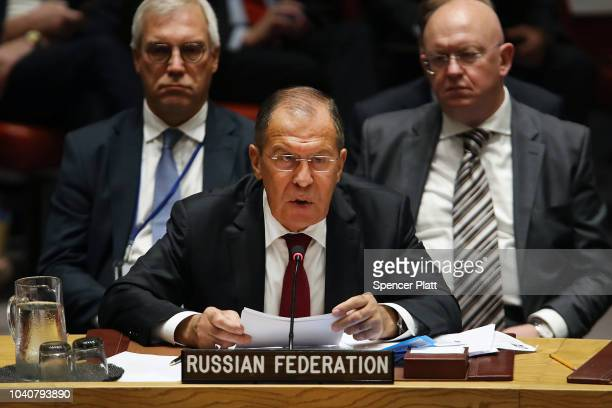 Russian Foreign Minister Sergei Lavrov speaks during a United Nations Security Council meeting that is being chaired by President Donald Trump on...
