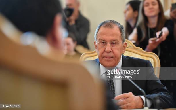 Russian Foreign Minister Sergei Lavrov speaks with Japanese Foreign Minister during their meeting in Moscow on May 10, 2019.