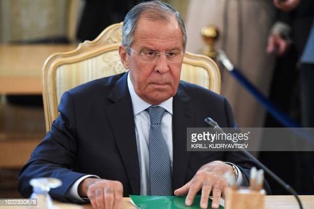 Russian Foreign Minister Sergei Lavrov takes part in a meeting with his Turkish counterpart in Moscow on August 24, 2018.