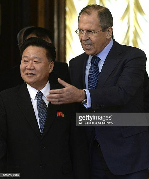 Russian Foreign Minister Sergei Lavrov welcomes North Korean leader Kim JongUn's special envoy Choe Ryong Hae a secretary of the Central Committee of...