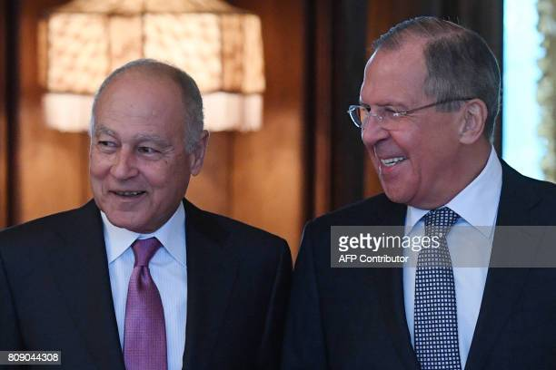 Russian Foreign Minister Sergei Lavrov welcomes SecretaryGeneral of the Arab League Ahmed Aboul Gheit during their meeting in Moscow on July 5 2017...