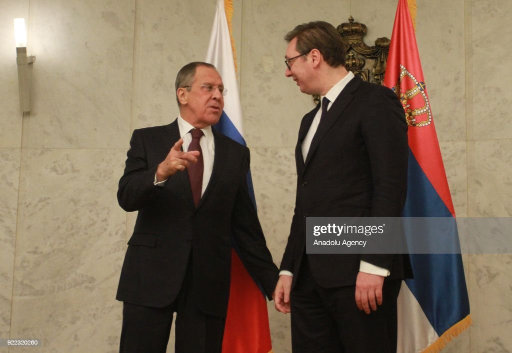 Russian Foreign Minister Sergey Lavrov (L) and Serbian President Aleksandar Vucic (R) are seen together ahead of their meeting in Belgrade, Serbia on February 21, 2018.