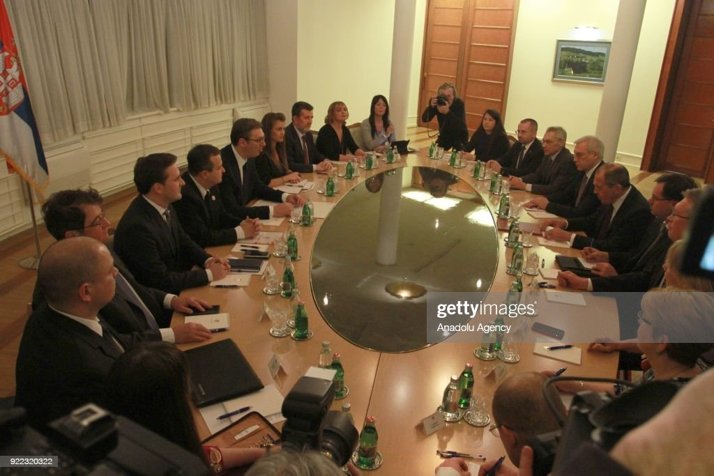 Russian Foreign Minister Sergey Lavrov and Serbian President Aleksandar Vucic hold a meeting in Belgrade, Serbia on February 21, 2018.