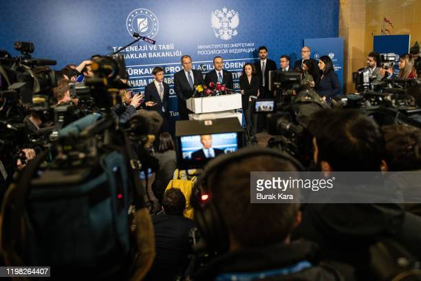 Russian Foreign Minister Sergey Lavrov and Turkish Foreign minister Mevlut Cavusoglu speak during a press conference following the opening ceremony...