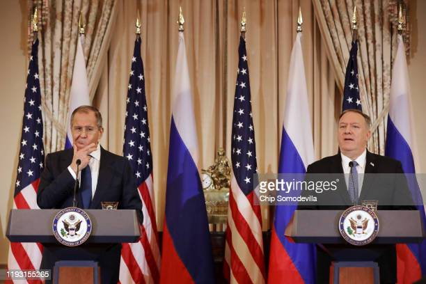 Russian Foreign Minister Sergey Lavrov and US Secretary of State Mike Pompeo hold a joint news conference in the Franklin Room at the State...