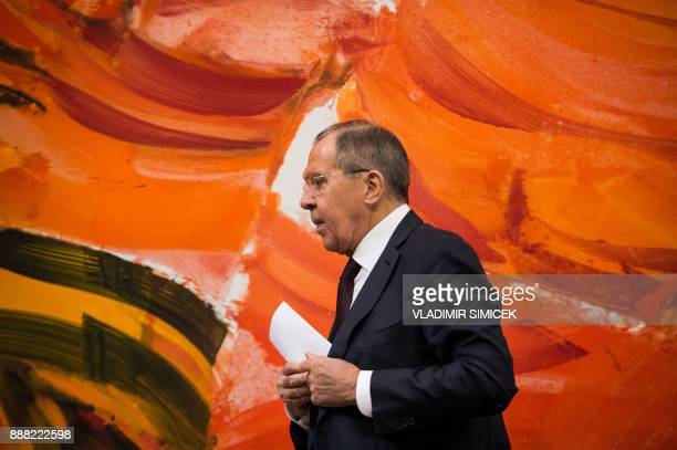 Russian Foreign Minister Sergey Lavrov attends a press conference after the 24th Ministerial Council of the Organisation for Security and CoOperation...