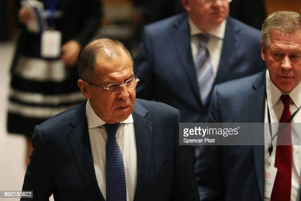 Russian Foreign Minister Sergey Lavrov attends a Security Council meeting during the 72nd United Nations General Assembly at UN headquarters on...