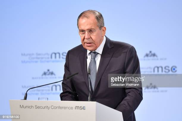 Russian Foreign Minister Sergey Lavrov delivers a speech at the 2018 Munich Security Conference on February 17 2018 in Munich Germany The annual...