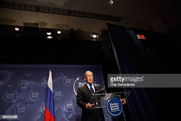 Russian Foreign Minister Sergey Lavrov delivers remarks before signing an agreement on eliminating excess weapon-grade plutonium from his country's...