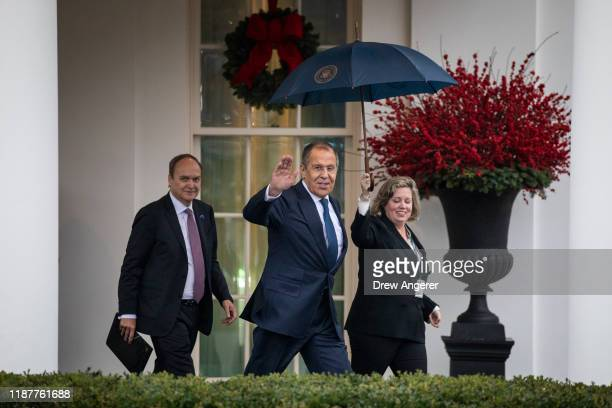 Russian Foreign Minister Sergey Lavrov exits the West Wing of the White House following a Oval Office meeting with US President Donald Trump on...